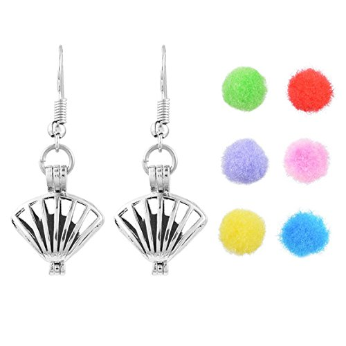 HOUSWEETY Aromatherapy Essential Oil Diffuser Drop Earrings - Hollow Shell Locket Pendant