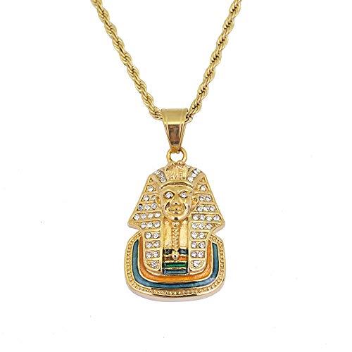 Moca Jewelry Collar de acero inoxidable con colgante de faraón egipcio de estilo hip-hop, cadena de cristal y diamantes de imitación, para hombres y mujeres