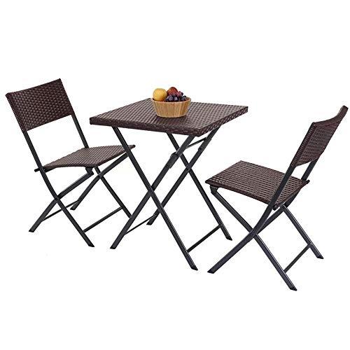 BAKAJI Set Tavolo Tavolino Pieghevole 62 x 62 cm + 2 Sedie Pieghevoli Arredo Esterno Giardino Terrazzo Struttura in Acciaio Inox e Sedute in Polyrattan (Coffee)