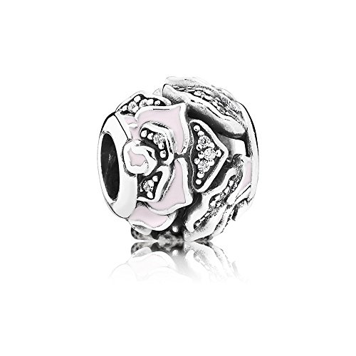 Pandora Damen-Bead Wildrose 925 Silber Emaille Zirkonia weiß - 791527EN40