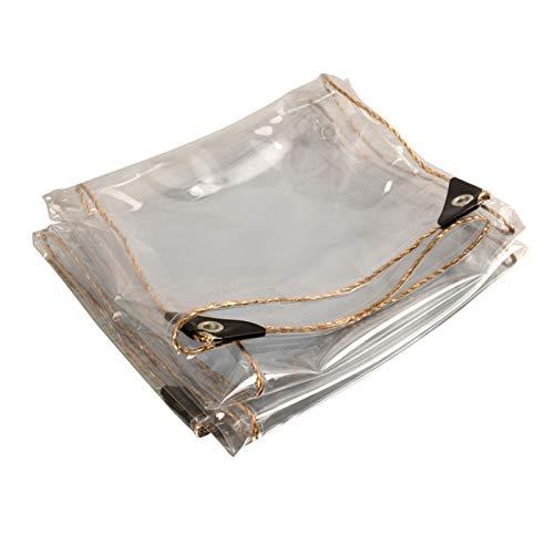 HUOGUOSHU Lona de PVC Transparente de Alta Resistencia, Cubierta Transparente para La Lluvia, Resistente Al Agua A Prueba de Viento, Resistente Al Desgarro con Ojales De Aluminio, Para JardíN, 450 g/