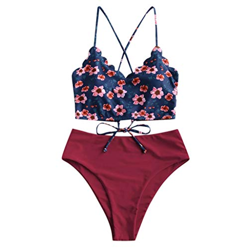 KEERADS BIKINI Damen Gepolsterter Bikini Set Bademode Badeanzug Zweiteilig Push up Bikini Set Neckholder Bikini Oberteil Mit High Waist Bikini Bottom