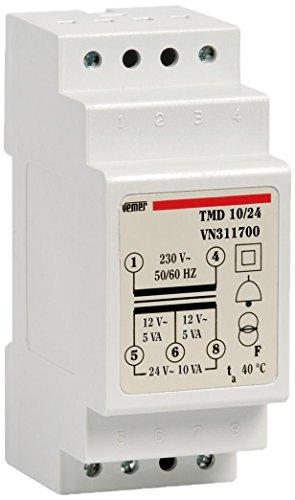 Vemer VN311700 Trasformatore TMD 10/24 da Barra DIN per Servizio Discontinuo 230V/12-24V, Grigio Chiaro