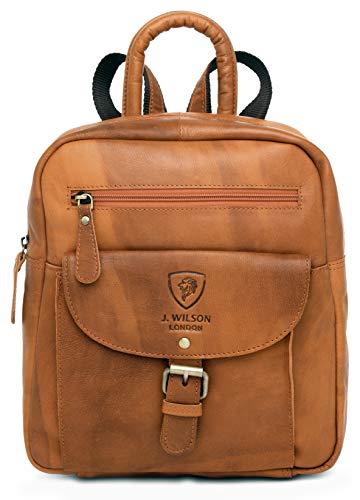 Ladies Backpack J. Wilson London Leather Backpack for Women Girls Schoolbag Casual Daypack School Bag Satchel (Vintage Tan)