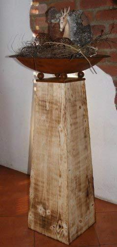 Holz Deko Säule flambiert mit rostiger Pflanzschale
