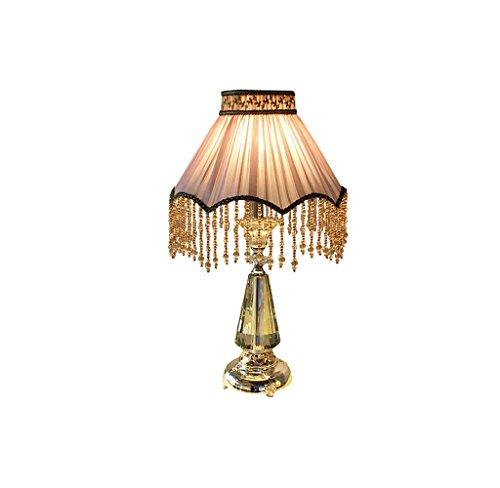 JPVGIA Borla europea Lámpara de mesa de cristal Lujo de gama alta Romántico Lámpara de escritorio cálido Dormitorio Lámpara de noche