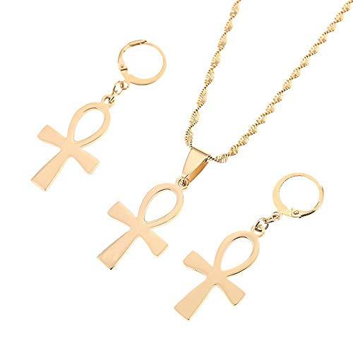 Joyería egipcia de acero inoxidable Vintage la llave del Nilo Ankh Cruz colgante collar pendiente conjunto de joyas-oro-color_50cm