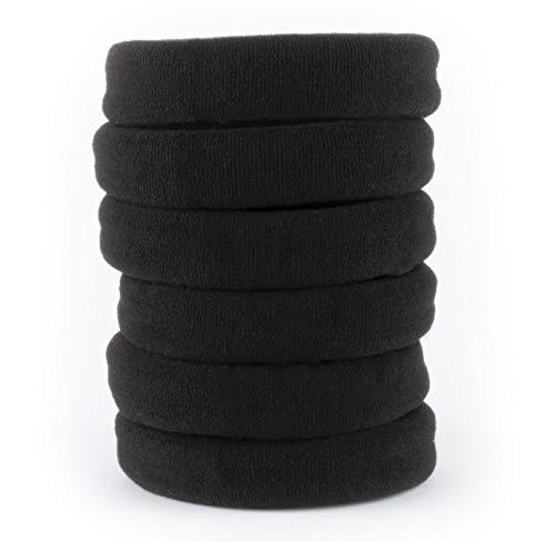 Elastici capelli neri super resistenti e spessi, confezione ecosostenibile, 6 pezzi