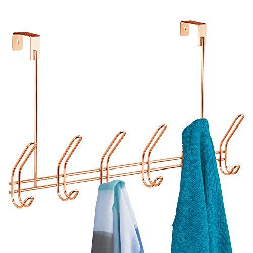 iDesign Garderobenleiste mit 6 Doppelhaken, lange Hakenleiste aus Metall zum über die Tür hängen, Türgarderobe für Jacken, Hüte oder Handtücher, kupferfarben
