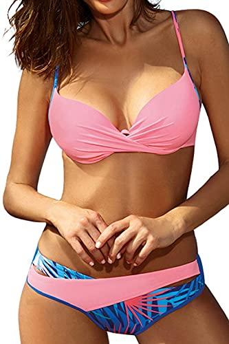 CMTOP Conjuntos De Bikini para Mujer Trajes De Baño Bañador 2021 Push Up Dividido BañAdores con Acolchado Bra Tops y Braguitas Bikini Sets Floral de Colores Dulces