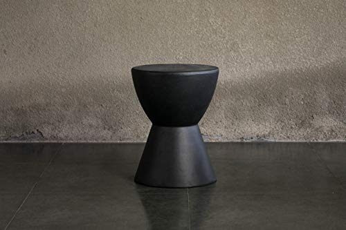 Rockingrocker - F13 Black Modern Lightweight Concrete Side Table - Suitable for Indoor or Outdoor -...