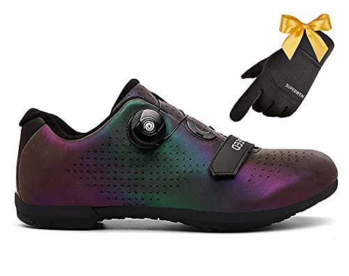 SUPERWEN Zapatos De Ciclismo Al Aire Libre Racing Road Zapatos De Bicicleta Zapatillas De Deporte para Los Hombres Zapatos De Bicicleta De Ciclismo Antideslizante(47, Phantom Blue)