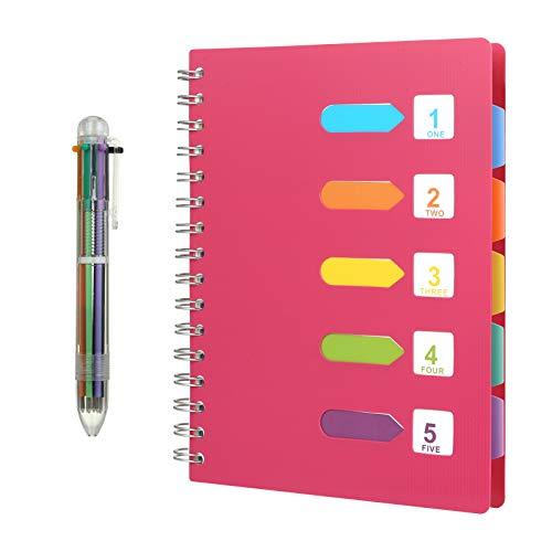 Kesote A5 Taccuino ad Anelli con Etichette di 5 Colori e Una Penna a Sfera di 6 Colori A5 Quaderno per Scuola, Ufiicio o Casa, 120 Fogli, Rosa