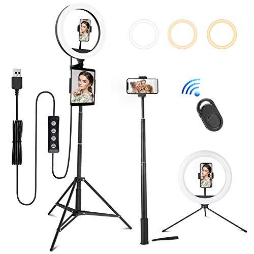 MINLUK Anillo de luz LED de 10 pulgadas, con trípode, 3 colores y 10 niveles de brillo, anillo Light con mando a distancia Bluetooth, lámpara anular para TIK Tok/Selfie/Live Streaming/Youtube