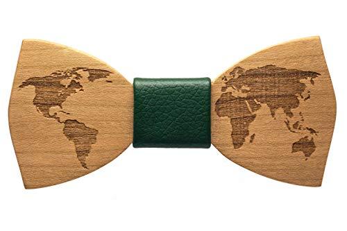 inwood Papillon world Legno Uomo, accessorio moda cerimonia matrimonio, legno pregiato, unico realizzato a mano (verde)