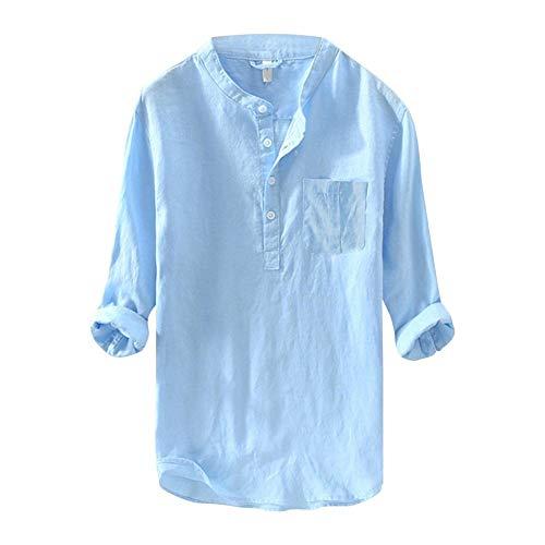 YFSLC-Studio Chemise Homme Manches Longues,Men's Long Sleeve Shirt Blouse Style Fashion Couleur Pur Coton Chanvre Chemisier Chemise Respirante Les Tops,L