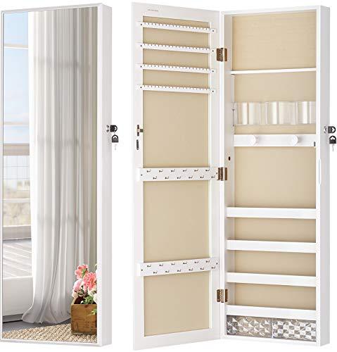 LUXFURNI Mirror Jewelry Cabinet Wall-Mount/Door-Hanging Armoire, Full length Mirror Lockable Makeup Storage Organizer w/ Cosmetic Box white