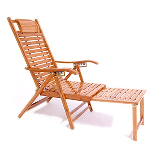 Bamboo Sandal Chair Recliner Folding Adult Lunch Break Siesta Chair Lazy Chair Leisure Summer Elderly Rocking Chair Household Backrest [175 Degrees Can Sleep And Recline] Reinforced Flat Recliner