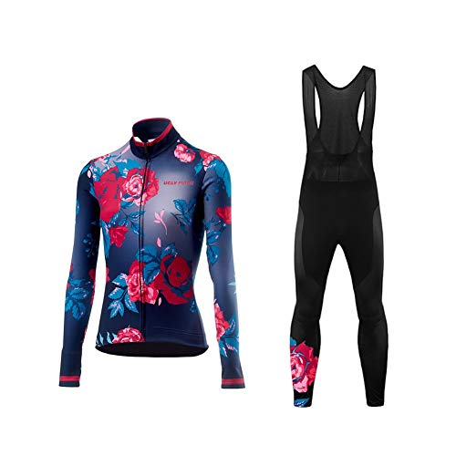 Uglyfrog - Completo termico, da ciclismo, da donna, a maniche lunghe, in jersey e pantaloni