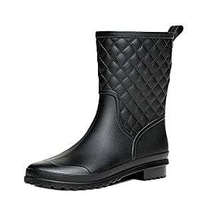 Bota Agua Mujer Jardín Trabajo Lluvia Botas Antideslizante Wellington Boots Negro 41