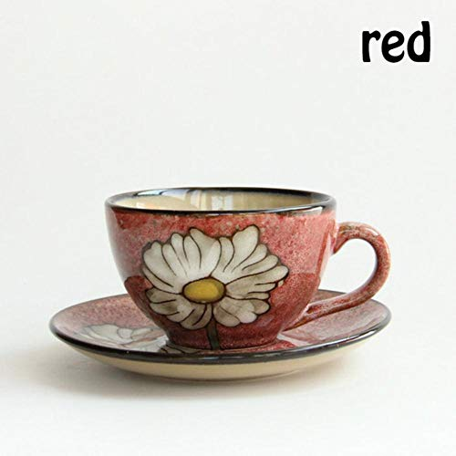 Yuchen Keramikbecher European American Style Retro Kaffeetasse Platte Pro Set, Rot