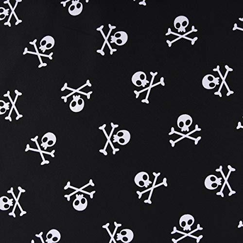 Faschingsstoff Polyester Totenkopf Pirat schwarz weiß 1,5m Breite