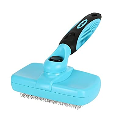 Pet Neat Self Cleaning Slicker Brush Effectively Reduces Shedding by Up to 95% - Professional Pet Grooming Brush for Small, Medium & Large Dogs and Cats, with Short to Long Hair by Pet Neat