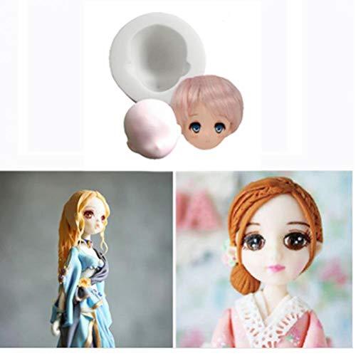 TOSSPER 3D Fille Princesse Visage Lady Head gâteau Moule Doll Head gâteau au Chocolat Bricolage Décor Silicone Mignon Visage de poupée Fondant Moule