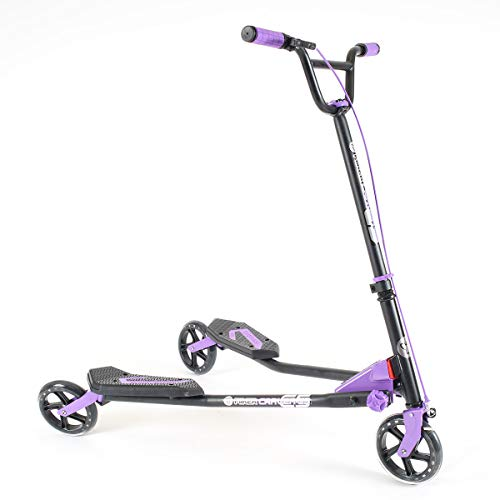 Yvolution Y Fliker Carver C5 | Three Wheeled Self-Propelling Drifting Scooter for Adults and Kids Age 9+ Years (Purple)