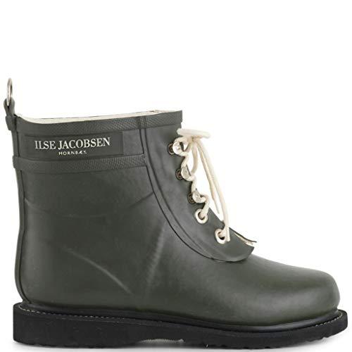 Ilse Jacobsen Damen Gummistiefel  Schuhe aus Natur Bio Gummi  Garantiert PVC frei  Kurze Stiefel mit Schnürsenkel aus Baumwolle  RUB2, Army, 40 EU