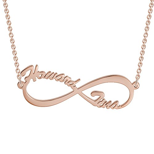 Soufeel Namenskette Unendlichkeits Personalisierte Namen Halskette 925 Sterling Silber mit Rosegold(Keine Interpunktion und Symbole)