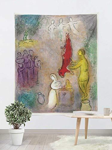 Tapiz Pared,Colcha de pícnic,Multiuso - Tapices Decoración,paño de Pared,tapicería Salón dormitorio - Pareo/Toalla de Playa - Cuadro famoso Chagall caballo rojo y un grupo de personas 130×150cm