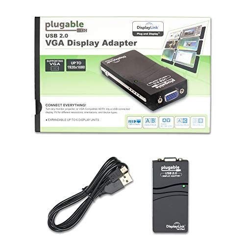 Plugable USB to VGA Video Graphics Adapter for Multiple Displays up to 1920x1080 (Supports Windows 10, 8.1,7, XP) California