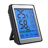 SOFER 温度計 湿度計 タッチスクリーン デジタル 壁掛け 卓上 強力マグネット 大画面見やすい 室内 (ブラック)