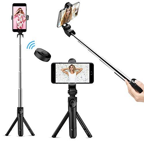 doosl Bastone Selfie Bluetooth, Selfie Stick Monopiede, Mini Estensibile 3 in 1 Selfie Stick Treppiede con Bluetooth Remote Shutter per Smartphone