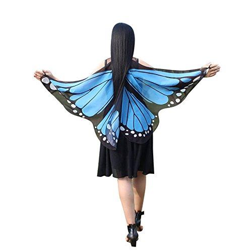 SHOBDW Damen Weiche Gewebe Schmetterlingsflügel Schal feenhafte Nymphe Pixie Halloween Weihnachten Karneval Cosplay Kostüm Zusatz Frauen Karneval Parade 147 * 70CM Schal Umhang