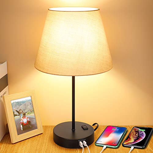Touch Control Bedside Table Lamp, 3 Way Dimmable Modern Nightstand Lamps with Dual USB Charging Ports & AC Outlet, Grey Fabric Shade Desk Reading Lamp for Bedroom Living Room, 6W LED Bulb Included