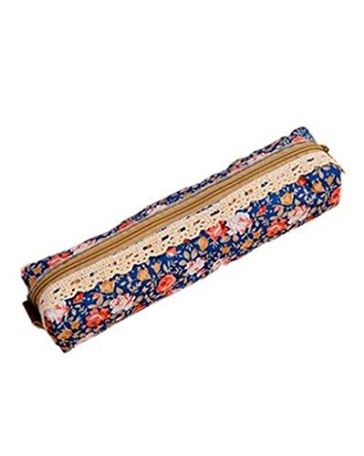 SAMGU Polka Dot Fleur Dentelle Florale Pencil Case Pen Sac Sac de Maquillage cosmétique Sac Pochette Couleur Dark Blue
