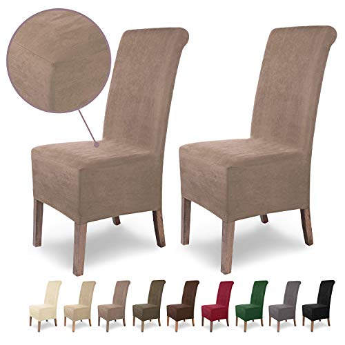 SCHEFFLER-Home Stretch Stuhlhusse Leon | 2er Set elastische Stuhlabdeckungen aus Wildleder | Stuhlhussen Schwingstühle | Spannbezug mit Gummiband | Elegante Stuhlbezüge