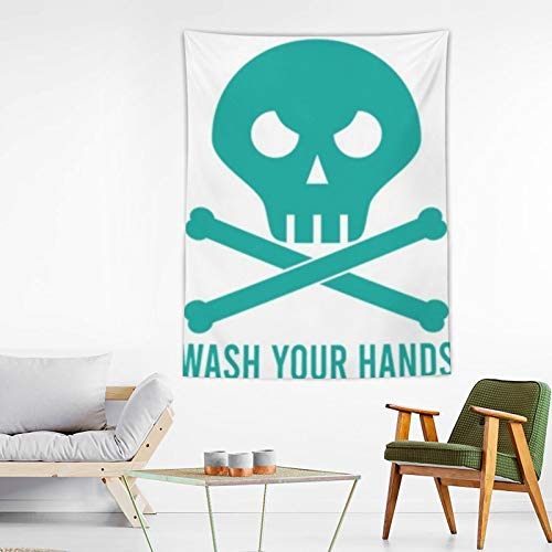 xiaojun Landscape Wash Your Hands Coronavirus Tapestry Wall Hanging Art Tapestry for Anime Home Decoration Bedroom Decor Living Room Door Curtain Balcony Sheer Room 80×60 inches