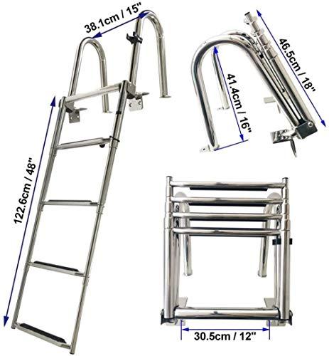 YLKCU Escalera de Piscina Plegable de 4 peldaños Escalera de baño telescópica Escalera de Barco con escalón Extra Ancho Escalera de Muelle de Acero Inoxidable