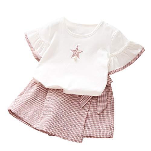 Camiseta de Manga Corta con Estrella para niñas + Traje de Dos Piezas con Falda con Cordones de celosía