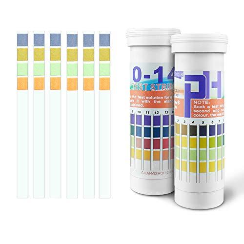 Yue PH Teststreifen 0-14 Lackmus Teststreifen pH Bodentest Wert Teststreifen Universal Richtigkeit 4 Farben ph Streifen für Acid Alkalisch - pH Papier für Boden Trinkwasser Lebensmittel Schwimmbad