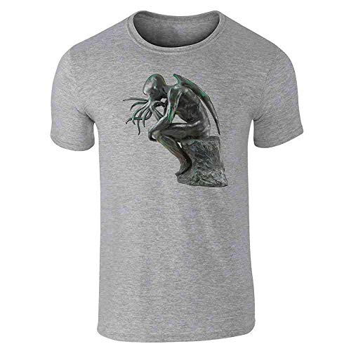 Pop Threads Cthinker Cthulhu Thinker Horror Monster Funny Gray 3XL Graphic Tee T-Shirt for Men