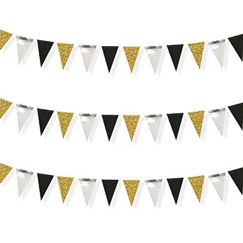 Pinkblume 78 Banderas Guirnaldas Papel Triángulo Banner Decoracion Banderines para Fiesta Gran Apertura de Fiestas y Picnic Patio (Negro Oro Plata)