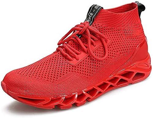 YAN Mens Freizeitschuhe Mesh Herbst Atmungsaktive Slip-on Sport Walking Laufschuhe Schuhe Trainer Komfort Wanderschuhe (Farbe   Weiß, Größe   44)