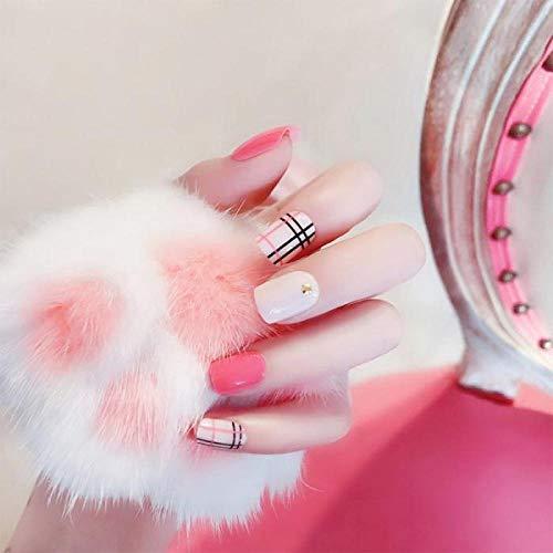TJJL Faux ongles 24 Pcs Mode Stripe Court Faux Ongles Conseils Avec Colle Femmes Manucure Décorations Tête Ronde Saut Couleur Artificielle Ongles Tn