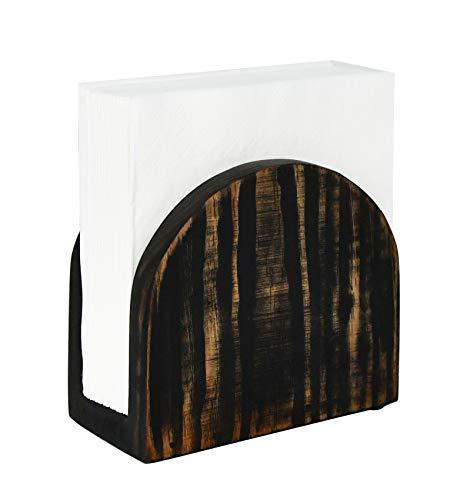 OwlGift Antique Wood Tabletop Napkin Holder, Kitchen Napkin Dispenser, Bar Accessories, Restaurant Décor, Freestanding Upright Organizer Storage – Rustic Brown