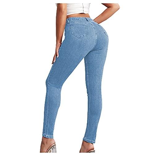 Röhrenjeans Damen Sexy Jeans Hose Skinny und Slim Fit Jeanshose mit Gummibund SkinnyJeans bis Grosse Grössen Hüftlift Sexy Freizeithose Reißverschluss Tasten Jeans Hohe Taille Bequeme beiläufigeHosen