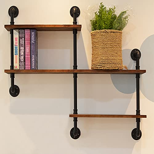 TTz Floating Shelves, 3-Tier Wooden Bookshelf, Industrial Pipe Rack, Practical Storage Ledge, for Study Kitchen Sitting Room